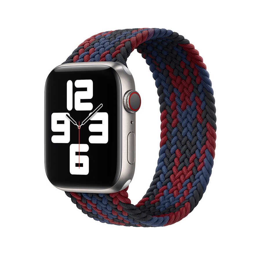 Apple Watch 44mm Wiwu Braided Solo Loop Contrast Color Medium Kordon