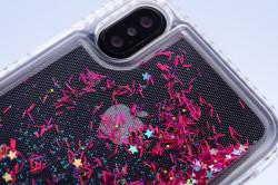 Apple iPhone X Kılıf Zore Sıralı Taşlı Sıvılı Silikon - Thumbnail