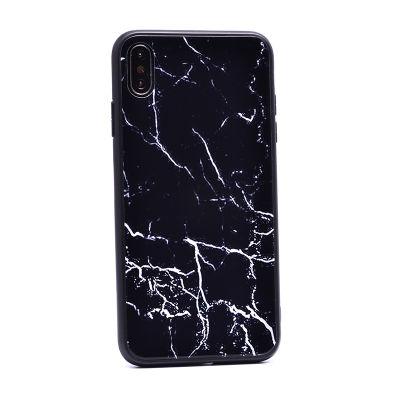 Apple iPhone XS Max 6.5 Kılıf Zore Mermer Desenli Ebruli Cam Kapak