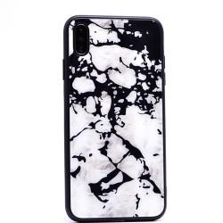 Apple iPhone XS Max 6.5 Kılıf Zore Mermer Desenli Ebruli Cam Kapak - Thumbnail