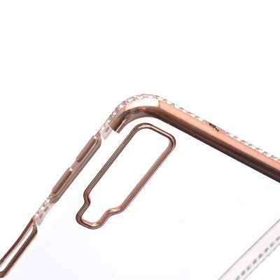 Galaxy A7 2018 Kılıf Zore Kenarı Tek Sıra Taşlı Silikon