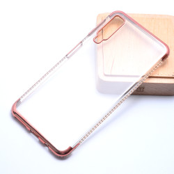 Galaxy A7 2018 Kılıf Zore Kenarı Tek Sıra Taşlı Silikon - Thumbnail