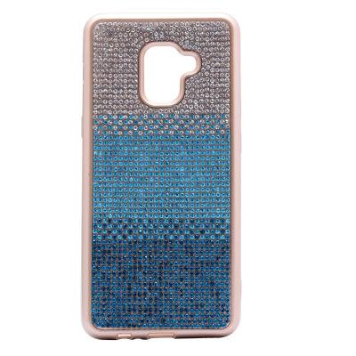 Galaxy A8 2018 Kılıf Mat Lazer Taşlı Silikon