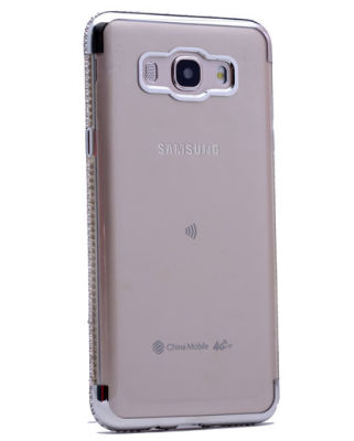 Galaxy J3 2017 Kılıf Zore Kenarı Tek Sıra Taşlı Silikon