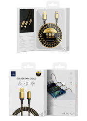 Wiwu Golden Series GD-104 3 in 1 Data Cable 1.2M - Thumbnail
